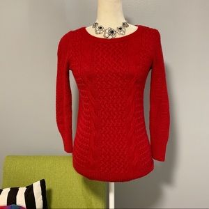 LOFT Red Cable Knit Sweater C2